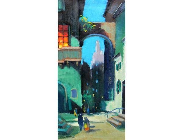 Картина маслом Узкая улица, AM1421