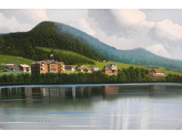 Картина маслом посёлок на берегу озера, AM1318