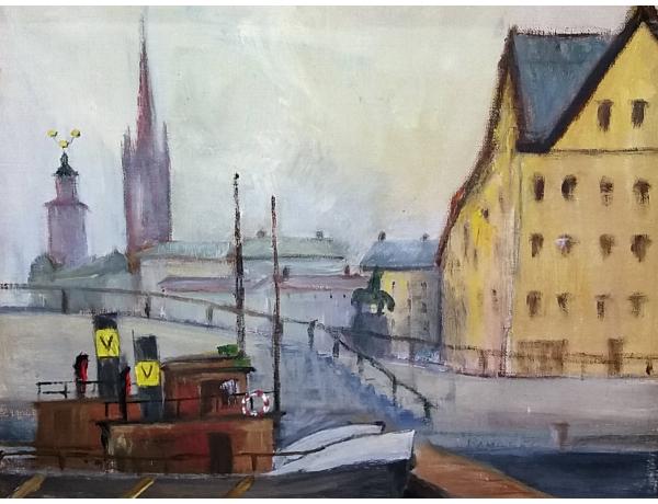 Картина маслом Судно в порту, AM1419