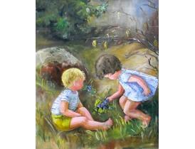Картина маслом Дети в лесу G. Sigraud 1961