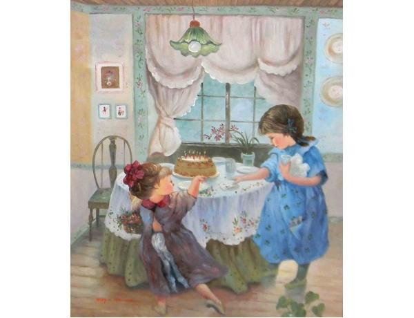 Картина маслом Детский день рождения копия Marchello, AM1171