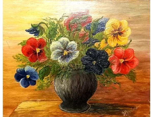Õlimaal Lilledega vaas H Johanson, AM1406
