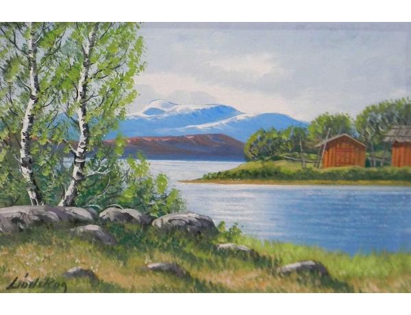 Õlimaal lõuendil Kased järve kaldal, AM0564