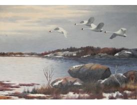 Картина маслом Лебеди улетают W. Liljenberg