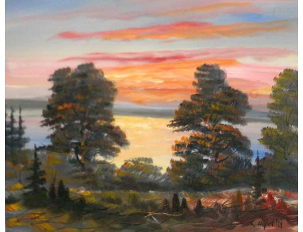 Картина маслом Пейзаж на закате Stig Aspelin, AM1194