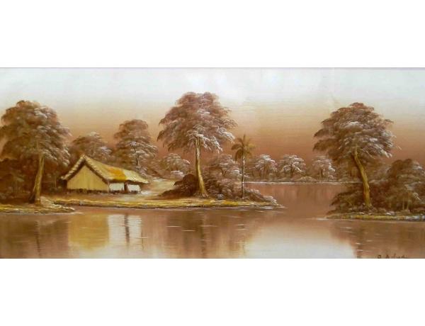 Картина маслом Дом на берегу реки, AM1203