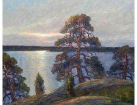 Картина маслом Сосны на берегу озера