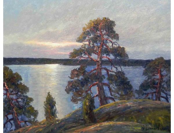 Картина маслом Сосны на берегу озера, AM1206