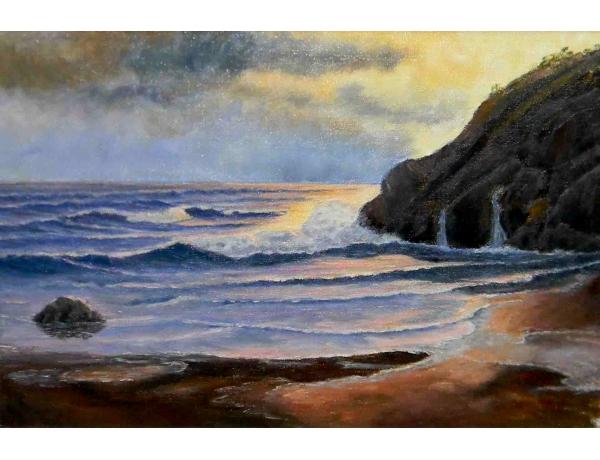 Картина маслом Пляж в закате A. A, AM1106