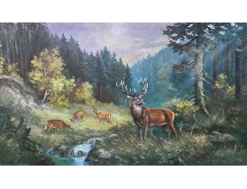 Картина Стадо оленей на водопое