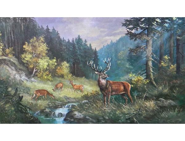 Картина Стадо оленей на водопое, AM0805