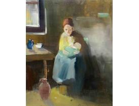Õlimaal Naine lapsega köögis