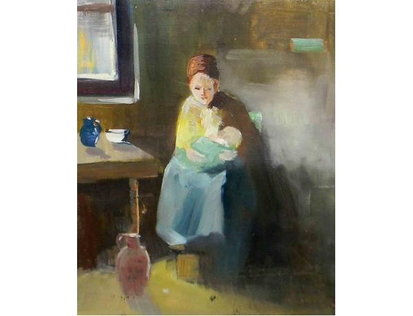 Картина Женщина с ребёнком на кухне, AM0924