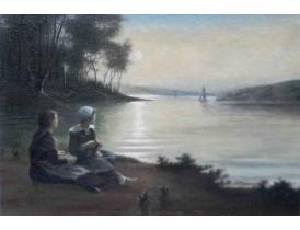 Картина маслом Девушки на берегу озера Grenlund 1924