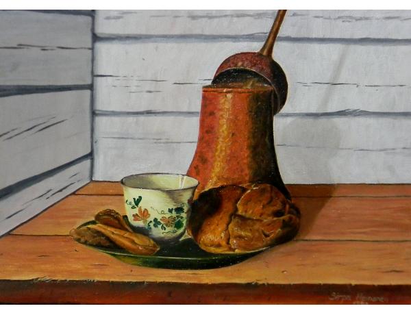 Картина маслом Натюрморт завтрак, AM1280