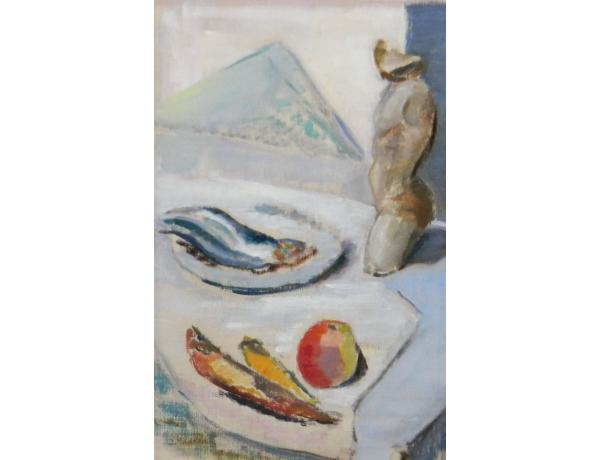 Картина маслом Натюрморт рыбный день, AM1329