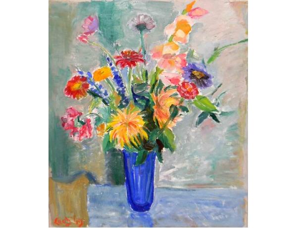 Õlimaal Natüürmort lilled vaasis 1949, AM1207