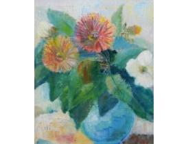 Õlimaal Natüürmort lilledega vaas