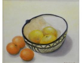 Õlimaal Natüürmort mandariinid ja õunad