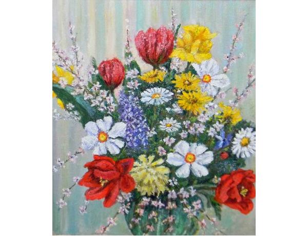 Картина маслом Натюрморт полевые цветы в вазе, AM1208