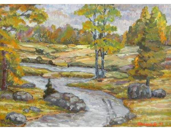 Картина маслом Ручей в лесу Edward G 1951, AM1333