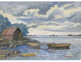 Картина маслом Лодки на берегу озера