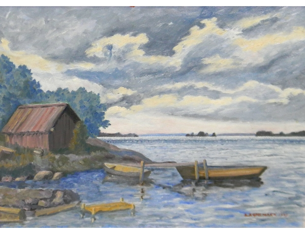 Картина маслом Лодки на берегу озера, AM1325