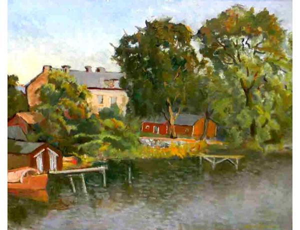 Картина Лодка на берегу реки, AM1068