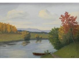 Картина маслом Лодка на берегу озера MN