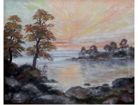 Õlimaal Päikepaisteline päev järve kaldal