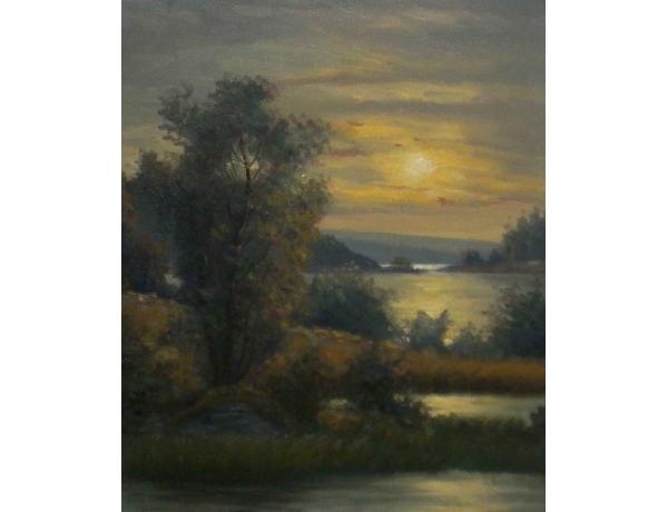 Картина Водоём на закате, AM0767