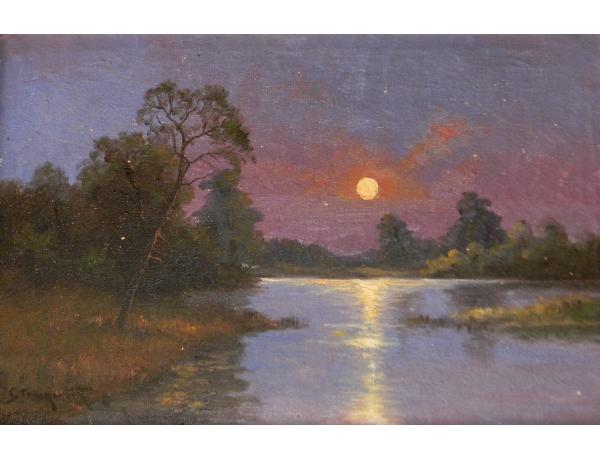 Картина маслом Закат и река, AM1428