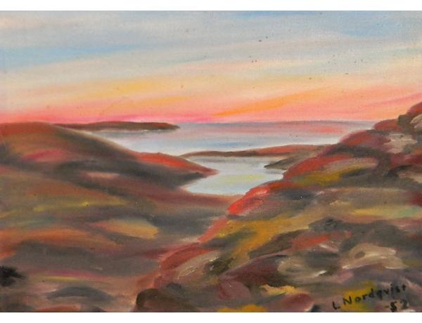 Картина маслом Восход и озеро, AM1372