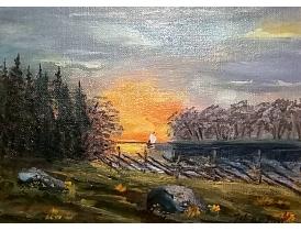 Картина маслом Восход в деревне