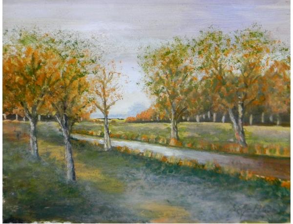 Картина маслом Парк осенью, AM1330