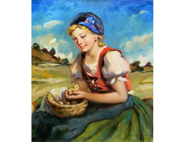 Картина маслом Хозяйка с цеплятами, AM1253