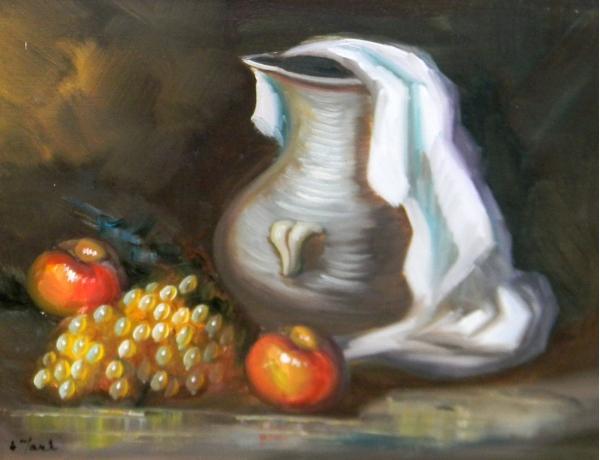 Картина маслом Кувшин и фрукты, AM1375