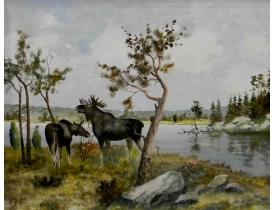 Картина маслом Лоси на берегу озера Holmberg Arboga