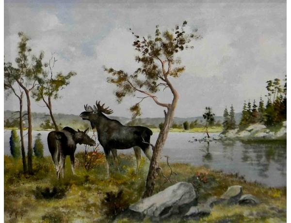 Картина маслом Лоси на берегу озера Holmberg Arboga, AM1090