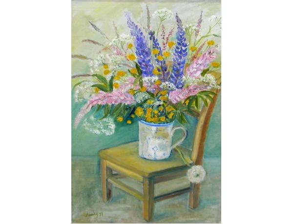 Картина маслом Полевые цветы на стуле F Spentz 1997, AM1403