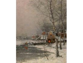 Õlimaal puitplaadil Talv maal