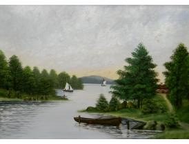 Картина маслом Парусники и лодка на берегу реки 1902