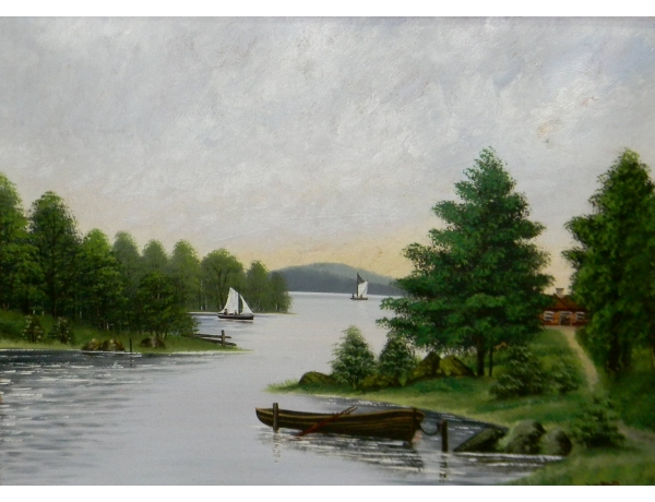 Картина маслом Парусники и лодка на берегу реки 1902, AM1386
