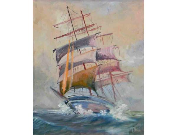 Картина Парусник и шторм, AM1044