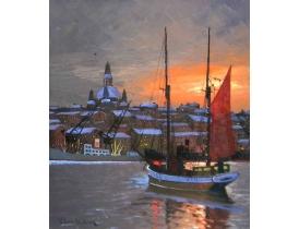 Õlimaal Purjekas päikeseloojangul N Lundström