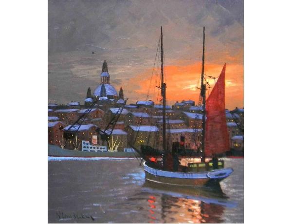 Картина маслом Парусник на закате N Lundström, AM1159