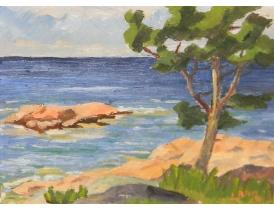 Картина маслом Пляж L Blom 1953