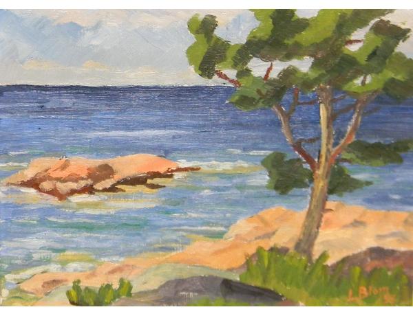 Картина маслом Пляж L Blom 1953, AM1412