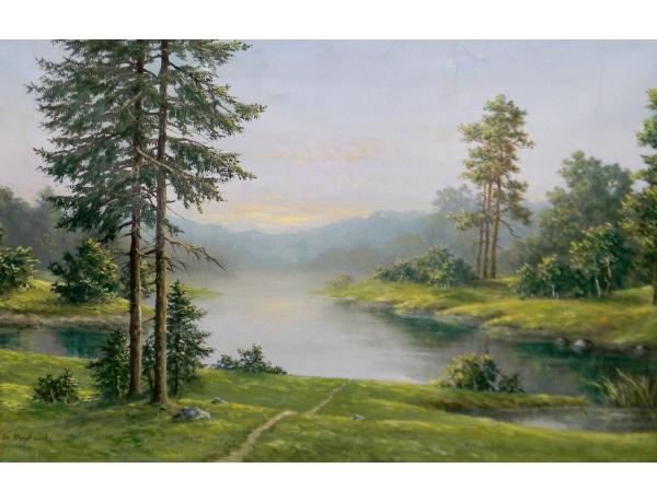 Картина маслом Зелёный пейзаж Stryjkowski, AM1282