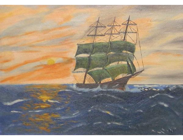 Картина Зелёный парусник, AM0595